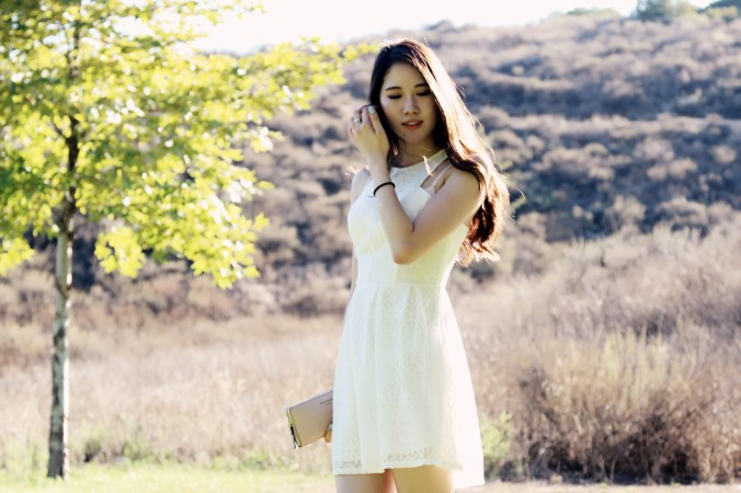 Hollister White Lace Skater Dress