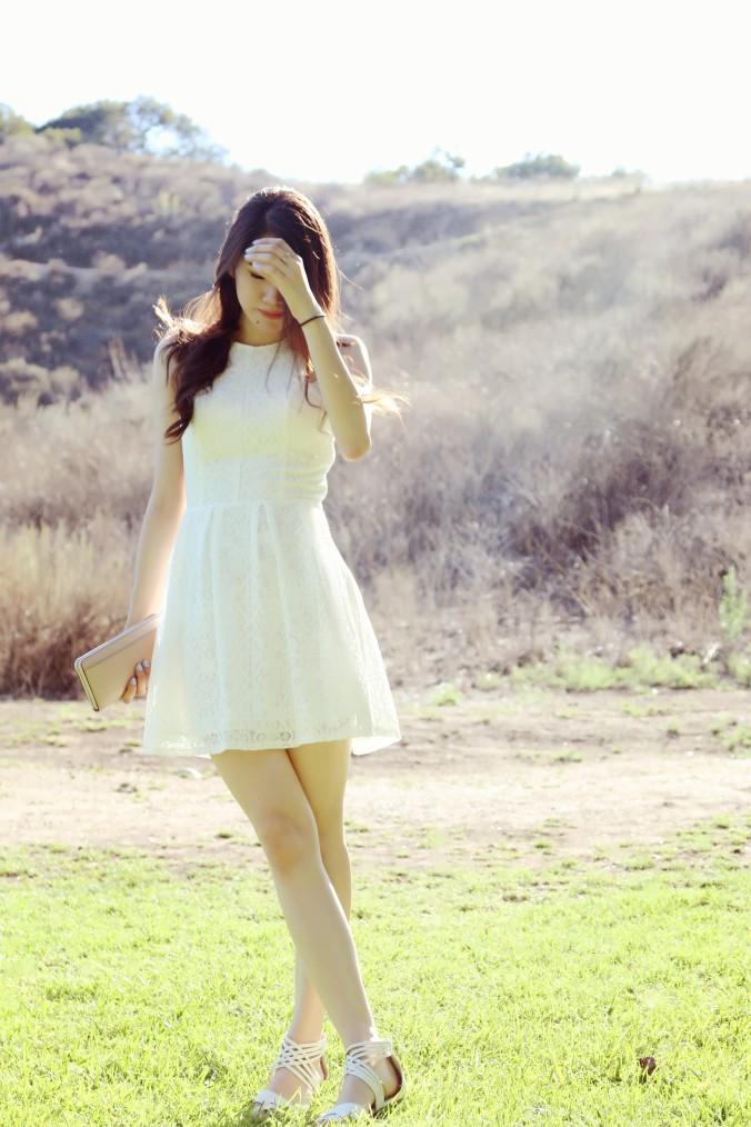 Hollister White Lace Skater Dress